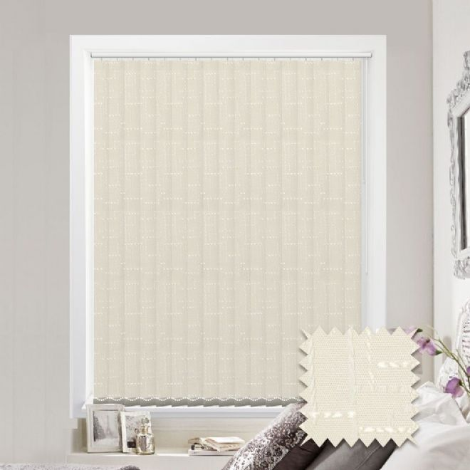 Vertical blinds - Made to Measure vertical blind in Malimo Oyster - Just Blinds